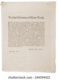 Anti-Republican Broadside of April 29 1788. Controversy and politics that delayed New York 's ratification of the Constitution. New York was the 10th of the 13 states to ratify the Constitution.