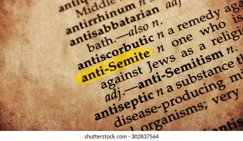 Anti-semite word in old textured dictionary