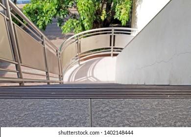 Anti-slip stair edges Linear pattern rough.