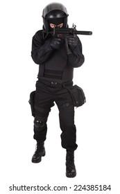 anti-terrorist policeman in black uniform isolated on white
