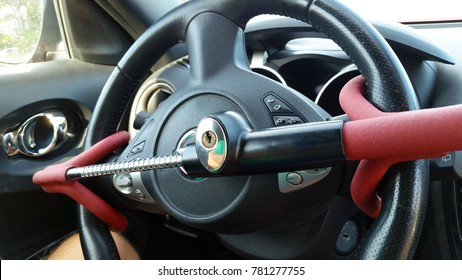 Anti-Theft Car Steering Wheel Lock. Black & red colors