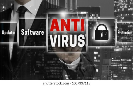 Antivirus concept is shown by businessman.