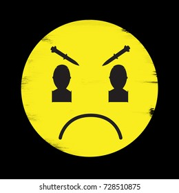 Anti-War illustration of angry face with bombs for eyes.