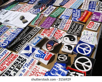 At an anti-war protest in Hollywood, California, on March 17, 2007, a selection of peace symbols and other bumper stickers are for sale.