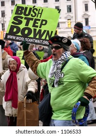 Anti-War Protester at an outdoor Rally in Cleveland, Ohio
