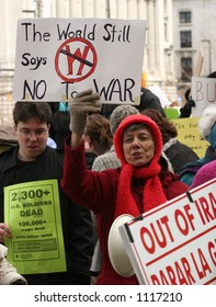 Anti-War protesters with Signs