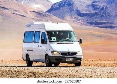 ANTOFAGASTA, CHILE - NOVEMBER 16, 2015: Old minibus Mercedes-Benz Sprinter at the gravel road.