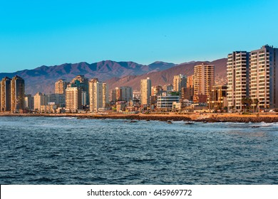 Antofagasta, Region de Antofagasta, Chile - April 19, 2017: Panoramic view of the coastline of Antofagasta, know as the Pearl of the North and the biggest city in the Mining Region of northern Chile.