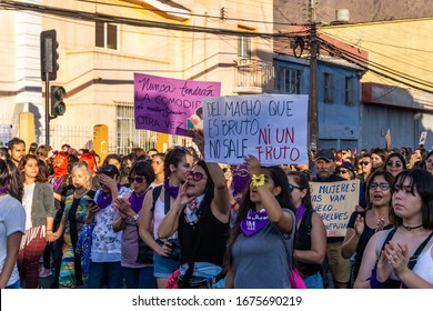 Antofagasta/Chile; 08/03/2020: International Women's Day March 8, thousands of women marching through the streets