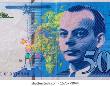 Antoine de Saint-Exupery portrait from French 50 Francs 1993 banknotes. An Old paper banknotes, vintage retro. Famous ancient Banknotes. French money, France  banknote. Closeup Collection.