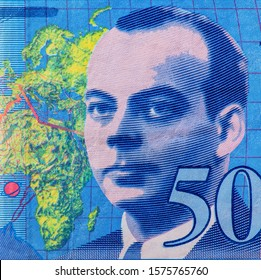 Antoine de Saint-Exupery portrait from  An Old paper banknotes, vintage retro. Famous ancient Banknotes. French money, France  banknote. Closeup Collection.