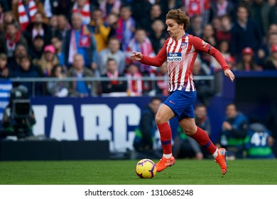 Antoine Griezmann of Atletico Madrid during the week 23 of La Liga between Atletico Madrid and Real Madrid at Wanda Metropolitano stadium on February 09 2019, in Madrid, Spain.