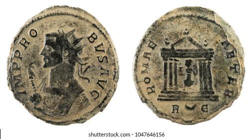 Antoninianus. Ancient Roman copper coin of Emperor Probus.
