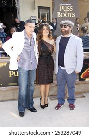 """Antonio Banderas, Salma Hayek and Zach Galifianakis at the Los Angeles Premiere of """"Puss In Boots"""" held at the Regency Village Theater in Westwood, California, United States on October 23, 2011."""