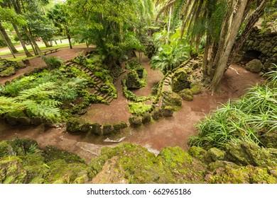 Antonio Borges Botanical Garden in Ponta Delgada. Ponta Delgada on the island of Sao Miguel is the capital of the Azores.
