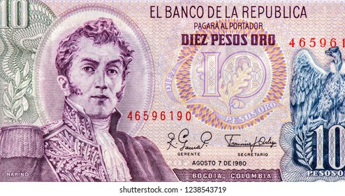 Antonio Nariño - Colombia on 10 Pesos Oro 1980 Banknote from Colombia. General of the Colombian army during the Latin American War of independence from Spain. Closeup Uncirculated - Collection.