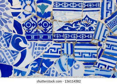 Antonio Gaudi mosaic work at Park Guell (1900-1914)- Barcelona - Spain.
