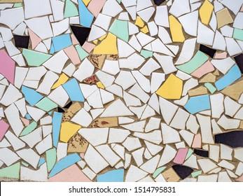 Antonio Gaudi style broken tiles mosaic colorful background