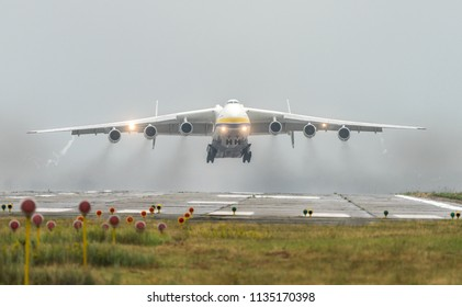 Antonov An-225 Mriya aircraft takes off from the Gostomel airport in Kyiv, Ukraine. This giant cargo plane is the heaviest aircraft ever built. Summer 2018