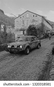 ANTRAIGUES, FRANCE, February 3, 2019 : Checkpoint for competitors at La Remise. Rallye Historique is reserved to those cars which have participated in the Rallye Monte-Carlo before 1980.