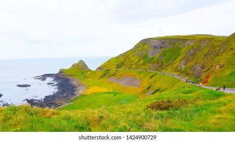 Antrim Coastal Road in Nothern Ireland - May 2019 Coastal Path Landscape