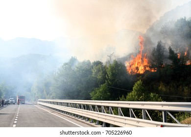 Antrodoco - Italy - August 28, 2017 - One of the forest fires sp
