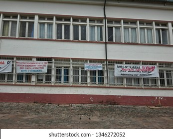 Antsirabe , Madagascar - February 27, 2019 : banner on town hall; public servant are on strike for not getting payed for several month after the presidential election