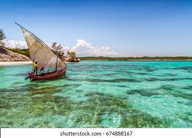 ANTSIRANANA, MADAGASCAR, NOV 19: Traditional fishing boat in the emerald sea of Antsiranana (Diego Suarez), north of Madagascar on november 19, 2016
