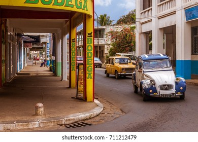 Antsiranana, Madagascar, November 17, 2016: Activity in the street Colbert of Antsiranana (Diego Suarez), Madagascar