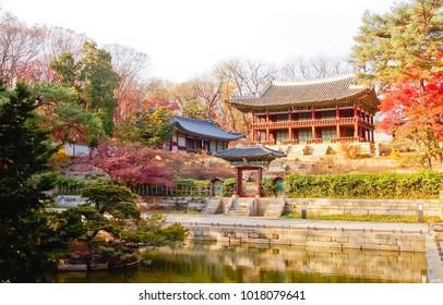 antumn scenery of juhamun pavilion of secret garden changdeokgung palace seoul south korea