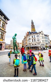 Antwerp (Antwerpen), Belgium - March 23, 2018 - Street view of the Grote Markt (Main Square) with statue of Arbeid Vrijheid
