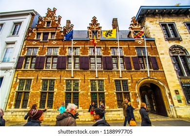 Antwerp (Antwerpen), Belgium - March 23, 2018 - Street view of Rubens house on Meir shopping street