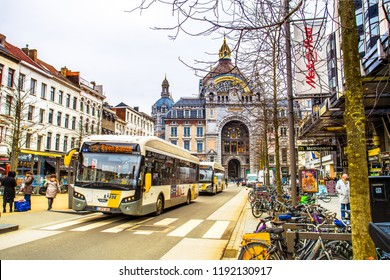Antwerp (Antwerpen), Belgium - March 23, 2018 - Street view of Antwerp Central Station