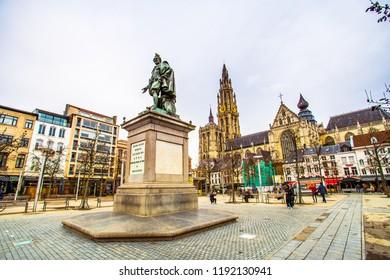 Antwerp (Antwerpen), Belgium - March 23, 2018 - Street view of Groenplaats with the statue of Pieter Paul Rubens