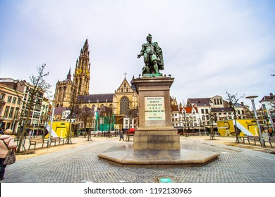 Antwerp (Antwerpen), Belgium - March 23, 2018 - Street view of Groenplaats with the statue of Pieter Paul Rubens