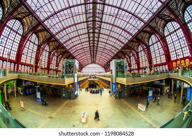 Antwerp (Antwerpen), Belgium - March 23, 2018 - Interior of the entrance hall of Antwerp Central Railway Station (Antwerpen-Centraal)