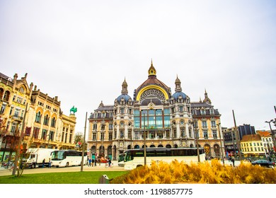 Antwerp (Antwerpen), Belgium - March 23, 2018 - Street view of a little park in front of the Antwerp Central Station