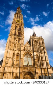 Antwerp, Anvers Belgium. Spire of Cathedral of Our Lady largest Gothic style in Benelux built in 1352. Flanders.