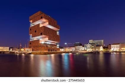 ANTWERP - APRIL 18: Museum aan de Stroom (MAS) along the river Scheldt in the Eilandje district of Antwerp, Belgium, on April 18, 2015. Opened in May 2011, is the largest museum in Antwerp.