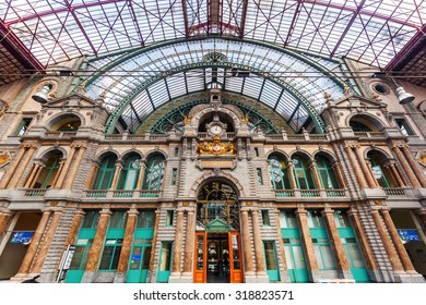 ANTWERP, BELGIIUM - SEPTEMBER 03, 2015: hall of the historical main station. Constructed 1895 - 1905 it is widely regarded as finest example of railway architecture in Belgium
