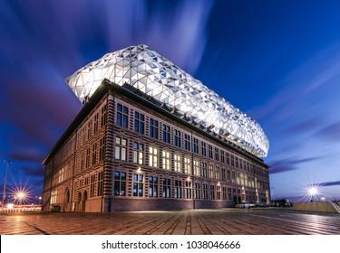 Antwerp, Belgium 03-3-2018. The beautiful port house ( havenhuis) that looks like a diamond.