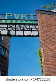 Antwerp / Belgium - 06.02.2020:  one of the entrances of PAKT, a hotspot of creative enterprises.