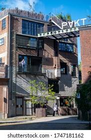 Antwerp / Belgium - 06.02.2020: a façade of PAKT, a hotspot of creative enterprises.