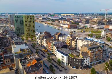 ANTWERP, BELGIUM - 1 AUGUST 2015: Aerial view of Antwerp port area with marina harbor from roof terrace museum MAS