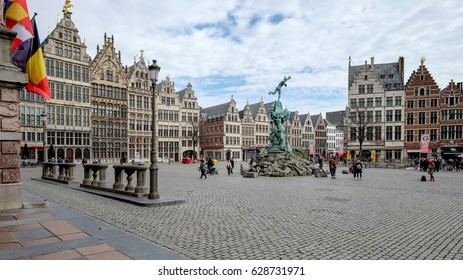 Antwerp, Belgium - 10 March 2017: View on the historical main square (Grote Markt) of Antwerp.