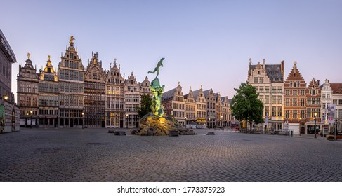 Antwerp, Belgium - 15 May 2020: Majestic 'Grote Markt' Square of Antwerp after sunset.