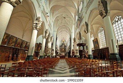 ANTWERP, BELGIUM - 21 APRIL, 2013: Interior of the Cathedral of Antwerp, Belgium on 21 April, 2013. It is the largest gothic church in the low countries.