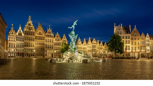 """Antwerp, Belgium – 25 May 2020: Brabo fountain at the """"Grote Markt"""" (main square) after sunset"""