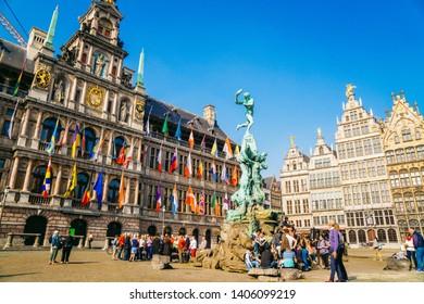 Antwerp, Belgium - 26/09/2017: Brabo fountain on market square, center of Antwerp, Belgium