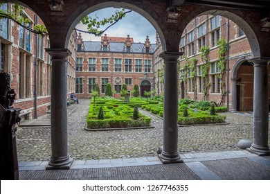 Antwerp, Belgium- 7 may 2015: Old 16th century Plantin - Moretus printshop / press in the old centre of Antwerp - view on the garden